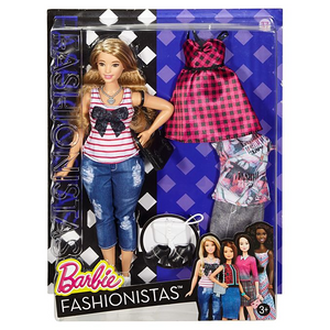 Mattel DTF00 Barbie - Fashionistas - # 37 - Curvy Puppe plus 2 Mode-Sets im Alltagsschick-Look