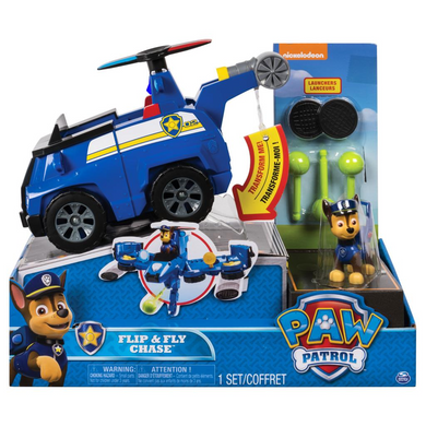 Spin Master 20088695 Paw Patrol - Flip & Fly - 2-in-1 Transforming Fahrzeug - Chase