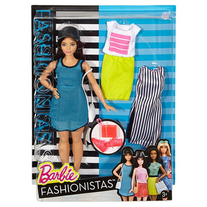 Mattel DTF01 Barbie - Sporty Puppe plus Fashion-Outfits - Curvy Model