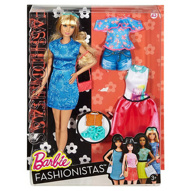 Mattel DTF06 Barbie - Fashionistas - Lacey Blue Puppe plus Fashion-Outfits - großes Model
