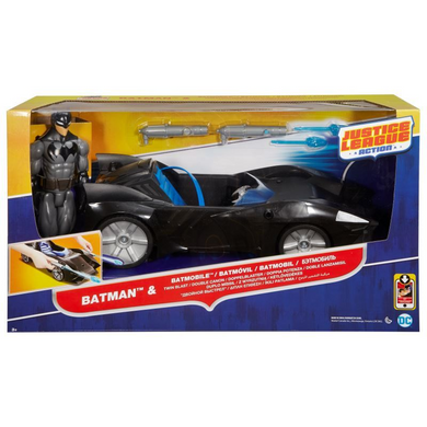 Mattel FFF28 DC Justice League -  Twin Blast Batmobile plus Actionfigur Batman