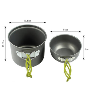 NEW Outdoor Camping Hiking Cooking Portable Nonstick Bowl Pots Pans Cookware Set