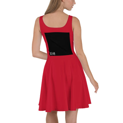 緊縛 SKATER DRESS (KINBAKU BLACK SQR) IN RED