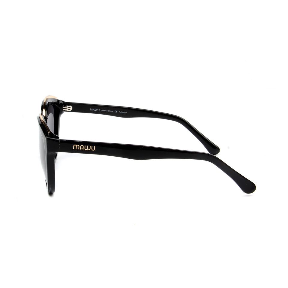 Amelie Jet Black - Side View - Grey lens - Mawu Sunglasses