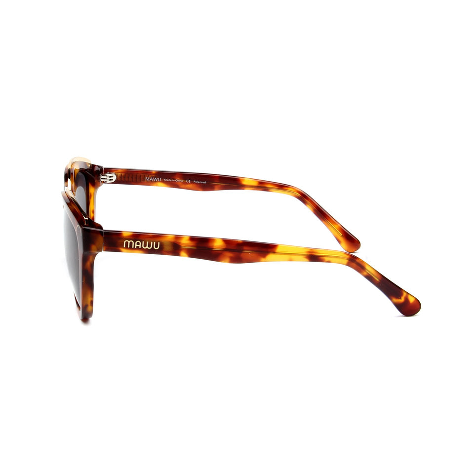 Amelie Tortoise - Side View - Grey lens - Mawu Sunglasses