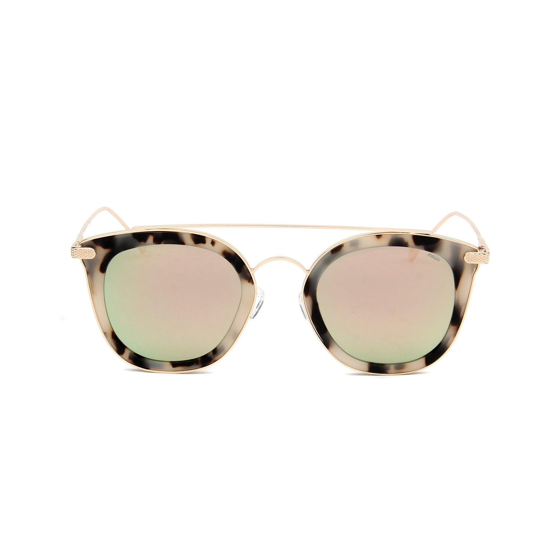 Julie Cream Tortoise - Front View - Pink Mirror lens - Mawu Sunglasses