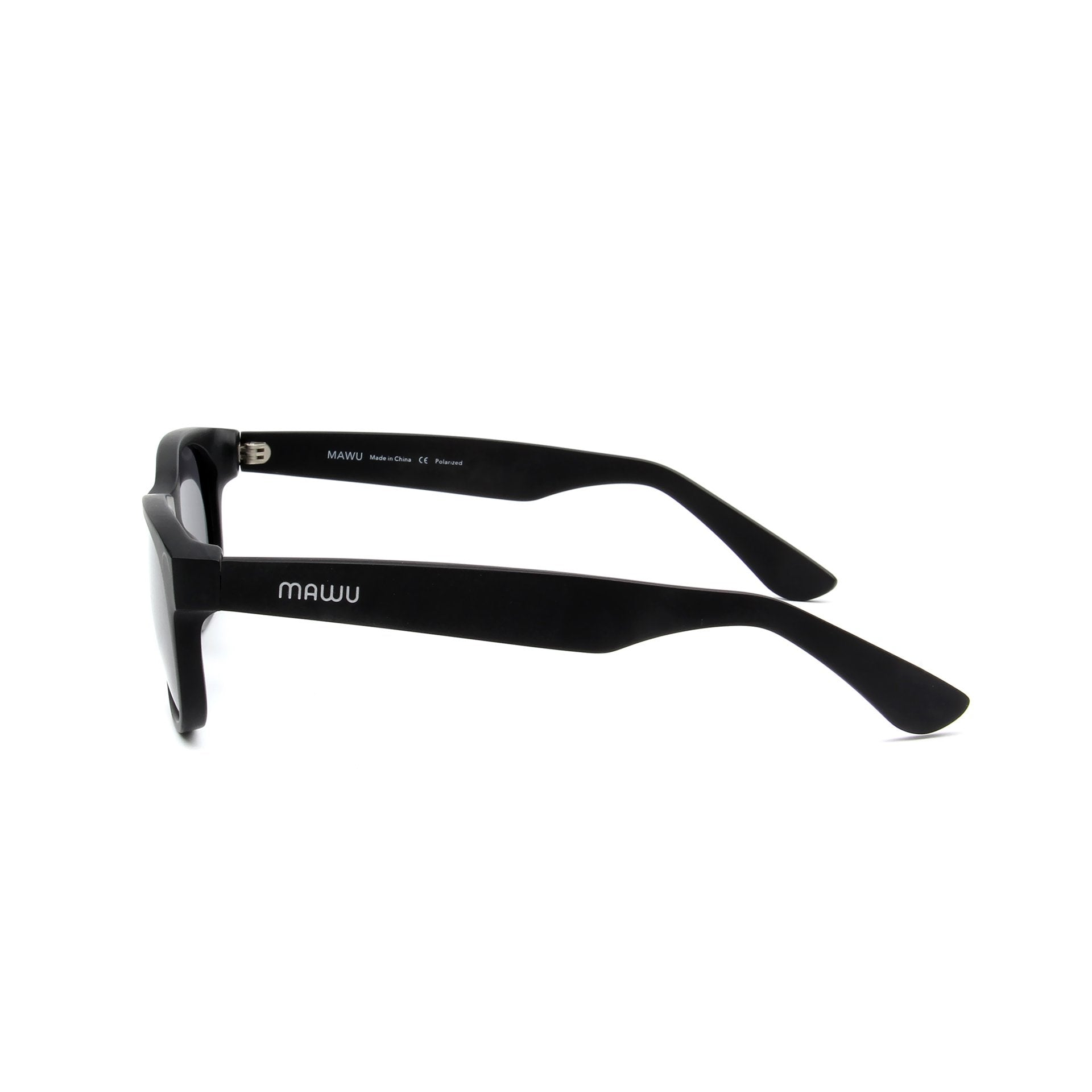 Maiao Matte Black - Side View - Grey lens - Mawu sunglasses