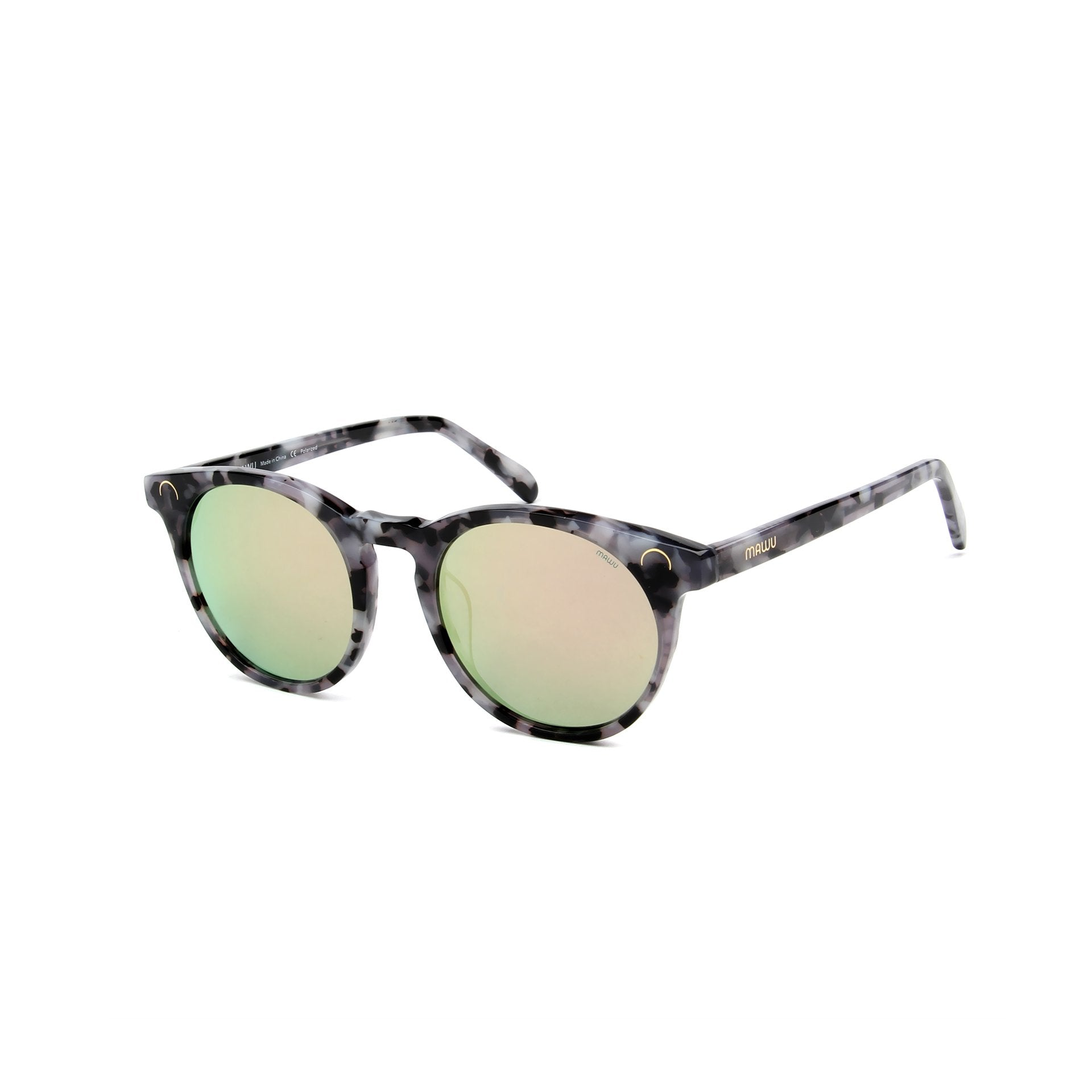 Maré Black & White Motley - Angle View - Pink lens - Mawu sunglasses