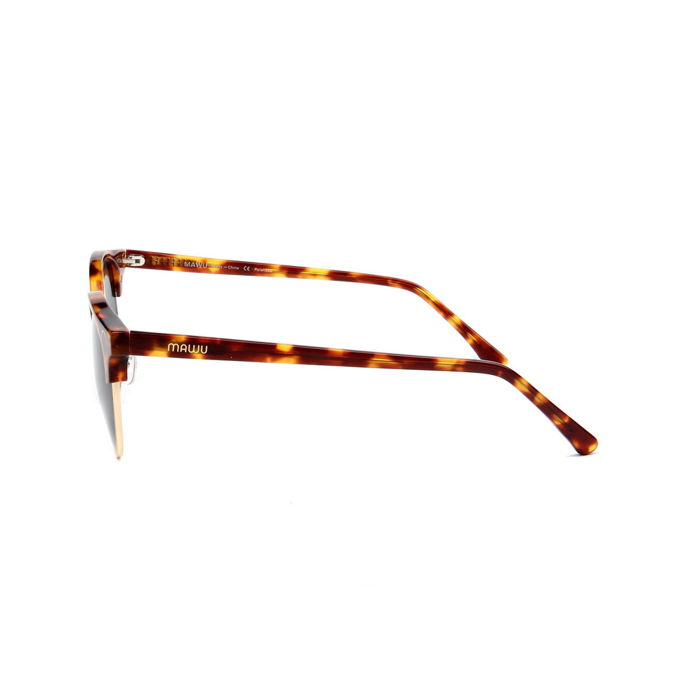 Tropez Tortoise - Side View - Dark Grey lens - Mawu sunglasses