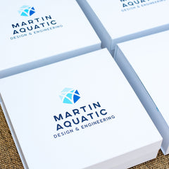Marigold & Grey Designs Branded Client Gifts for Martin Aqautic's Rebrand Announcement