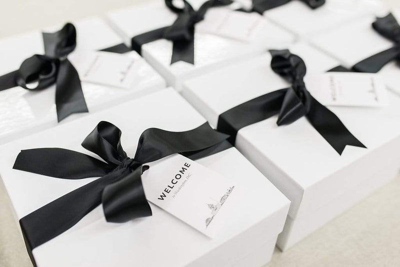 Modern Breakfast-in-Bed Themed Welcome Gift Boxes for Washington DC Mellon Auditorium Wedding