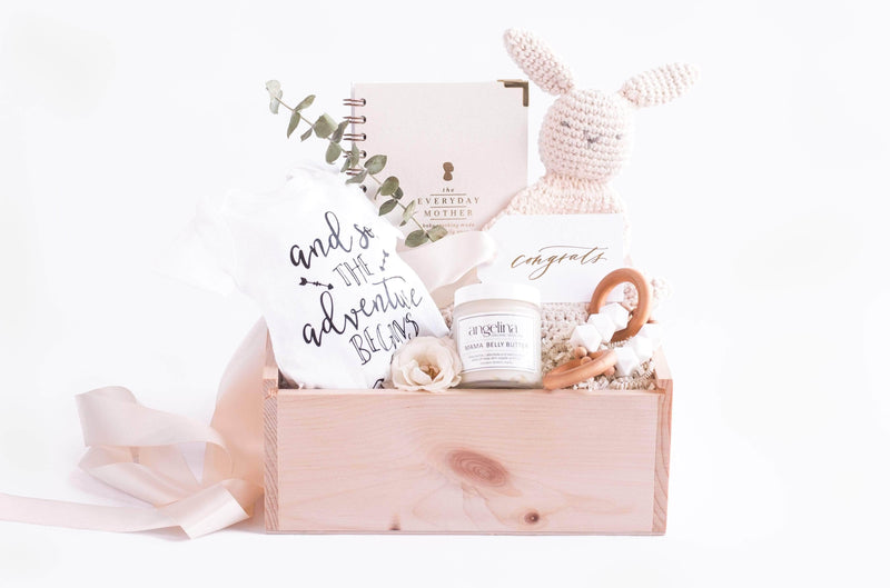 Announcing custom gift box design services for new moms by Marigold & Grey.