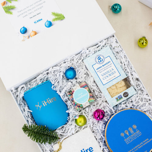 iHire Blue and White Holiday Gifts