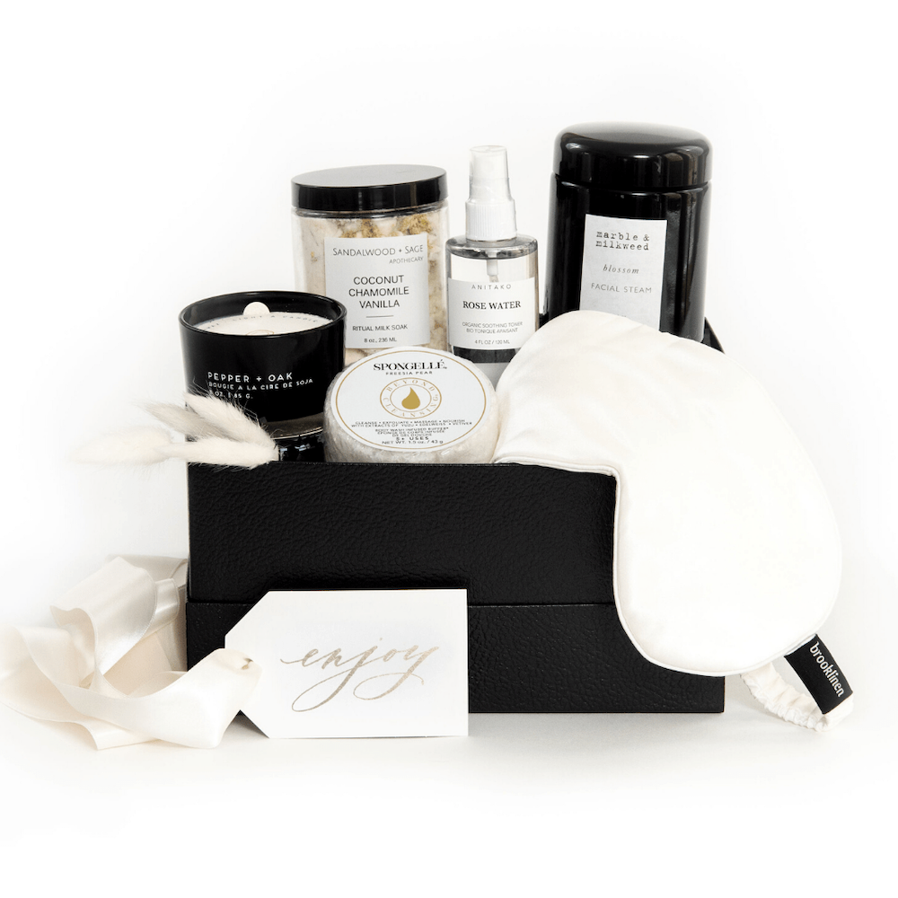 Mother's Day gift basket idea, Mod Spa curated gift set for mom, by artisan gifting company Marigold & Grey