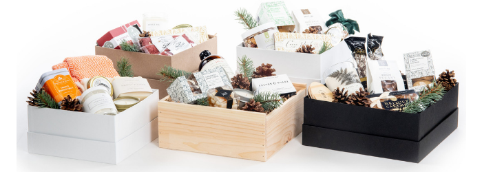 Luxury holiday curated gift boxes for client gifting and corporate events by Marigold & Grey