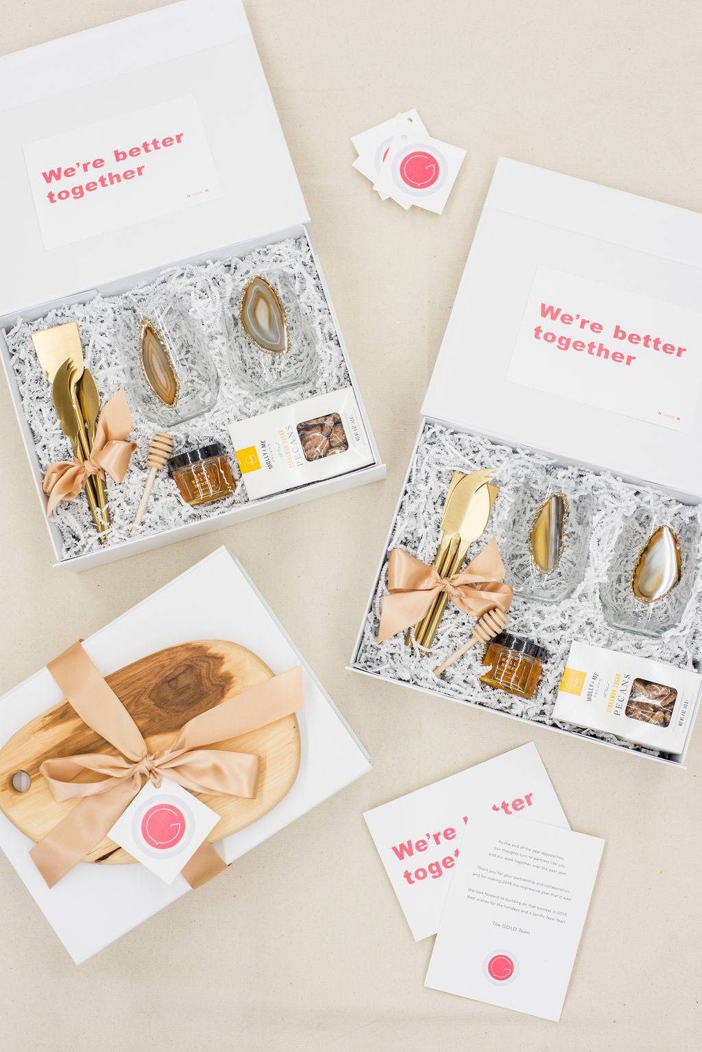 PR firm's corporate holiday client gift boxes by Marigold & Grey
