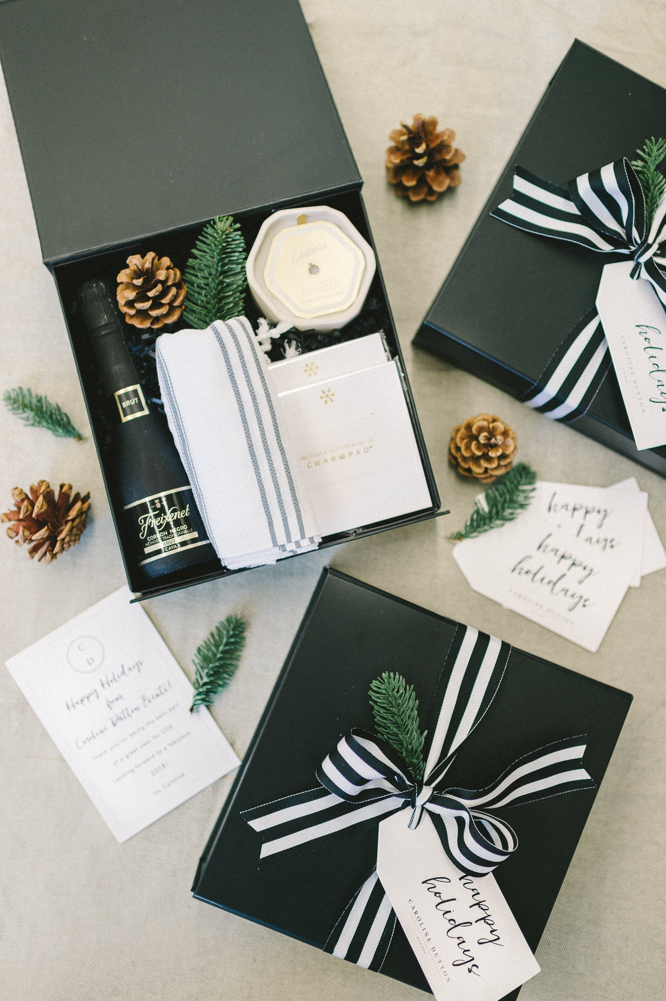 Modern holiday client gift boxes