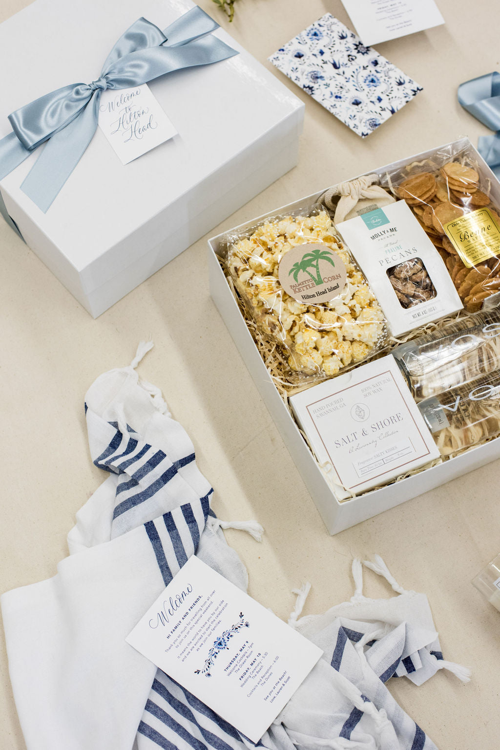 Hilton Head wedding welcome boxes