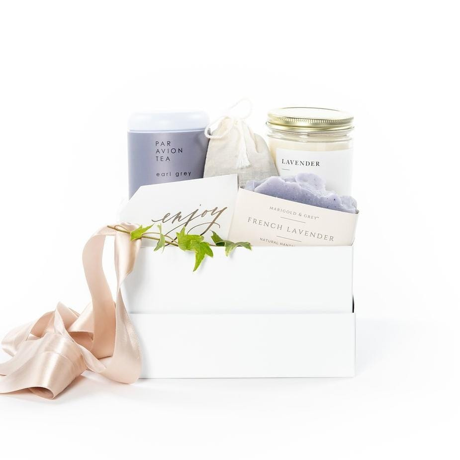 Luxurious lavender themed gift box for Mother's Day by curated gifting company, Marigold & Grey