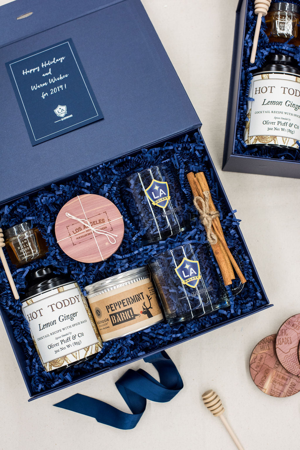 Custom luxury curated client holiday gift boxes for LA Galaxy