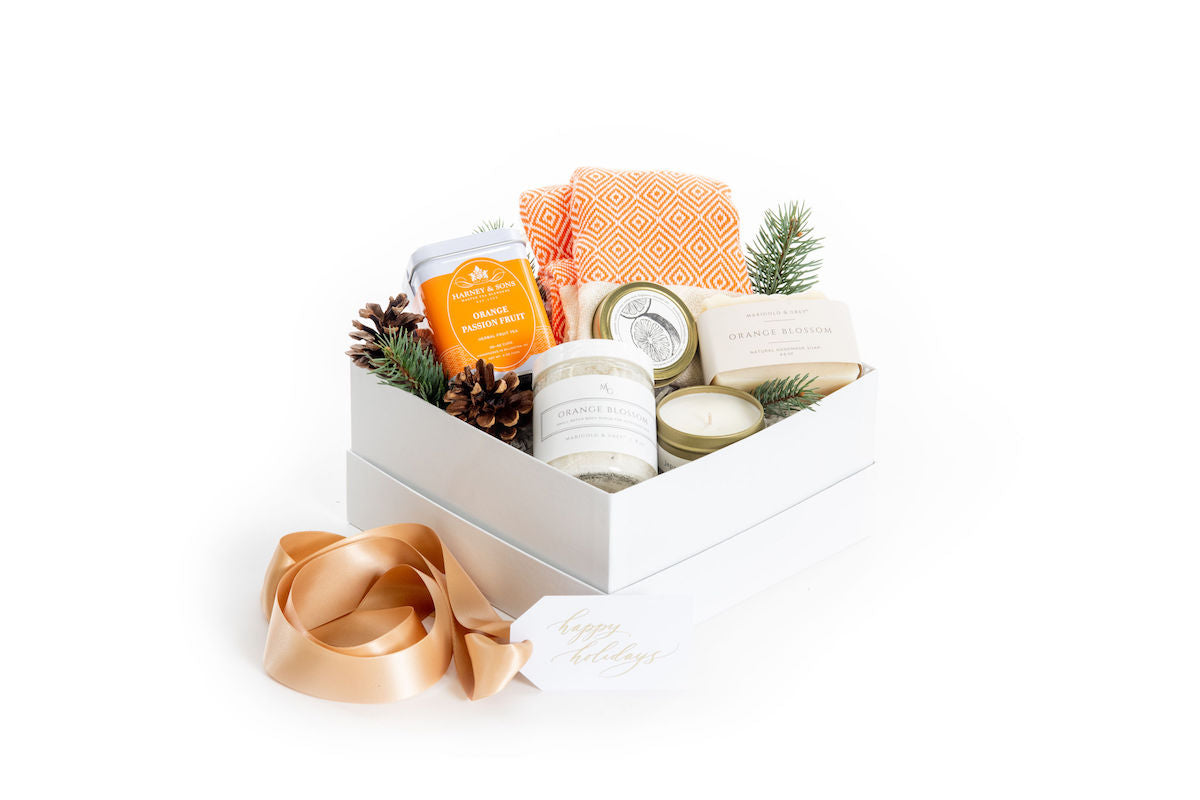 Citrus inspired holiday curated gift box perfect for a hostess gift or teacher gift