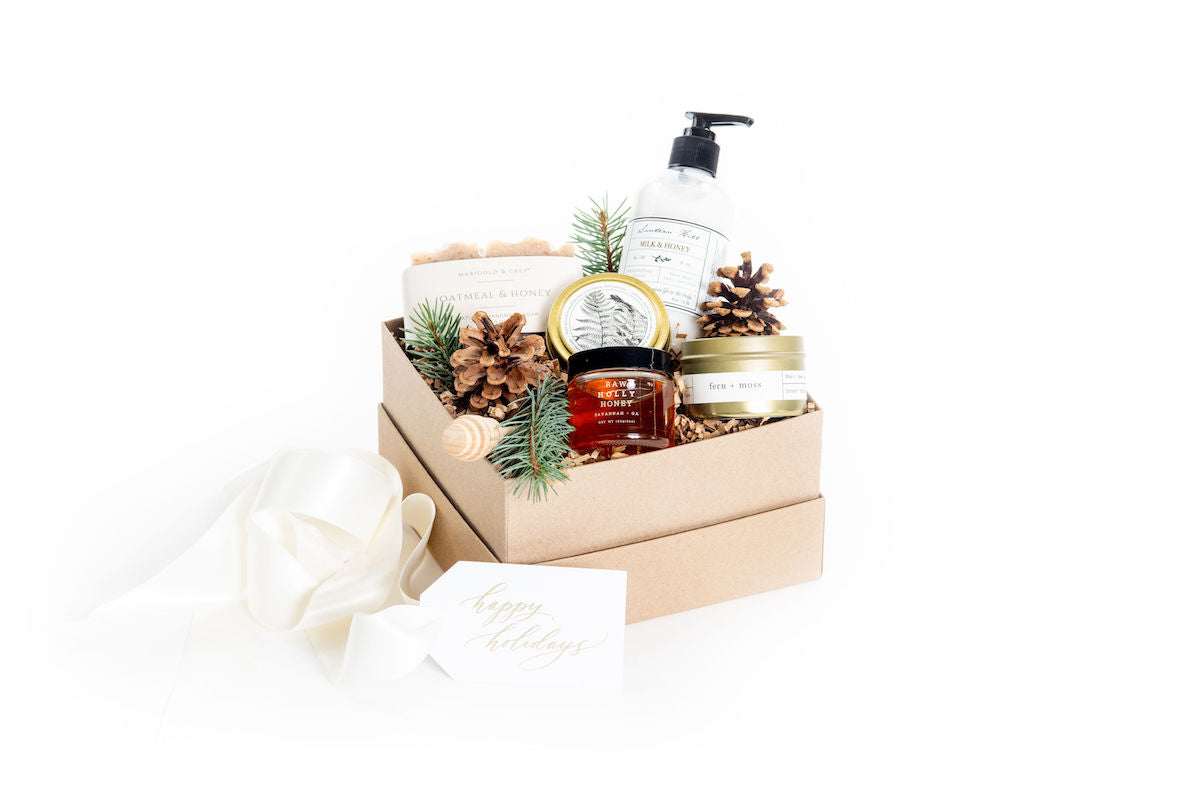 Holiday gender neutral curated gift boxes for client and corporate gifting by Marigold & Grey
