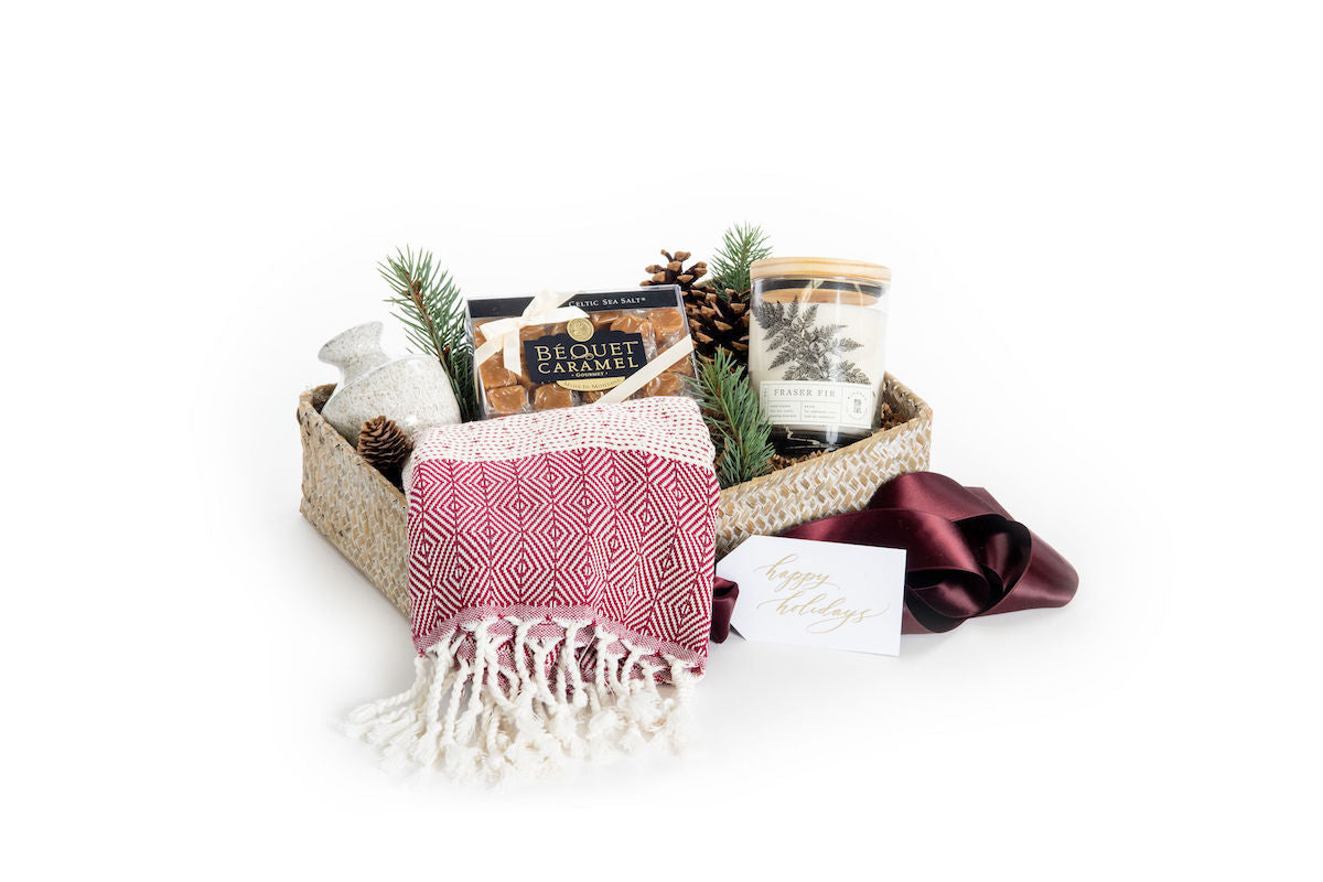 Luxury holiday gift basket for clients, co-workers, neighbors, and hostess gifting by Marigold & Grey