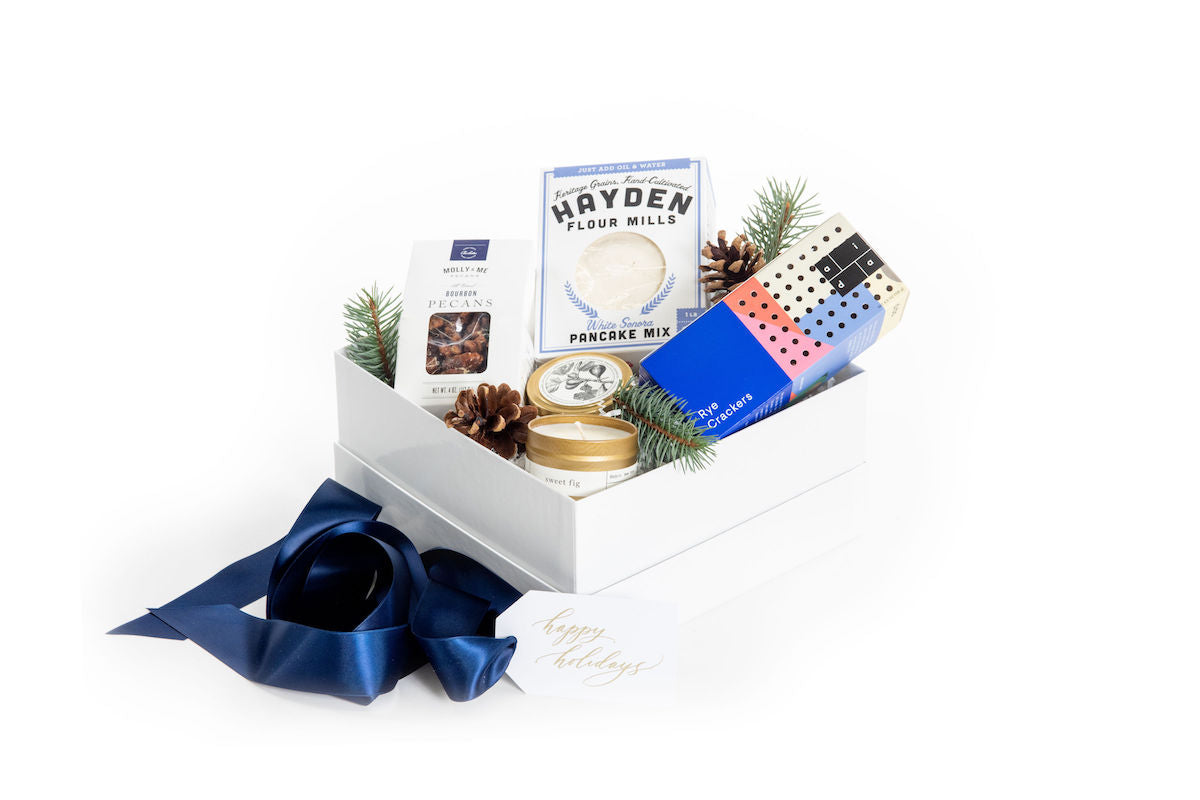 Masculine luxury curated gift box for client gifting by Marigold & Grey