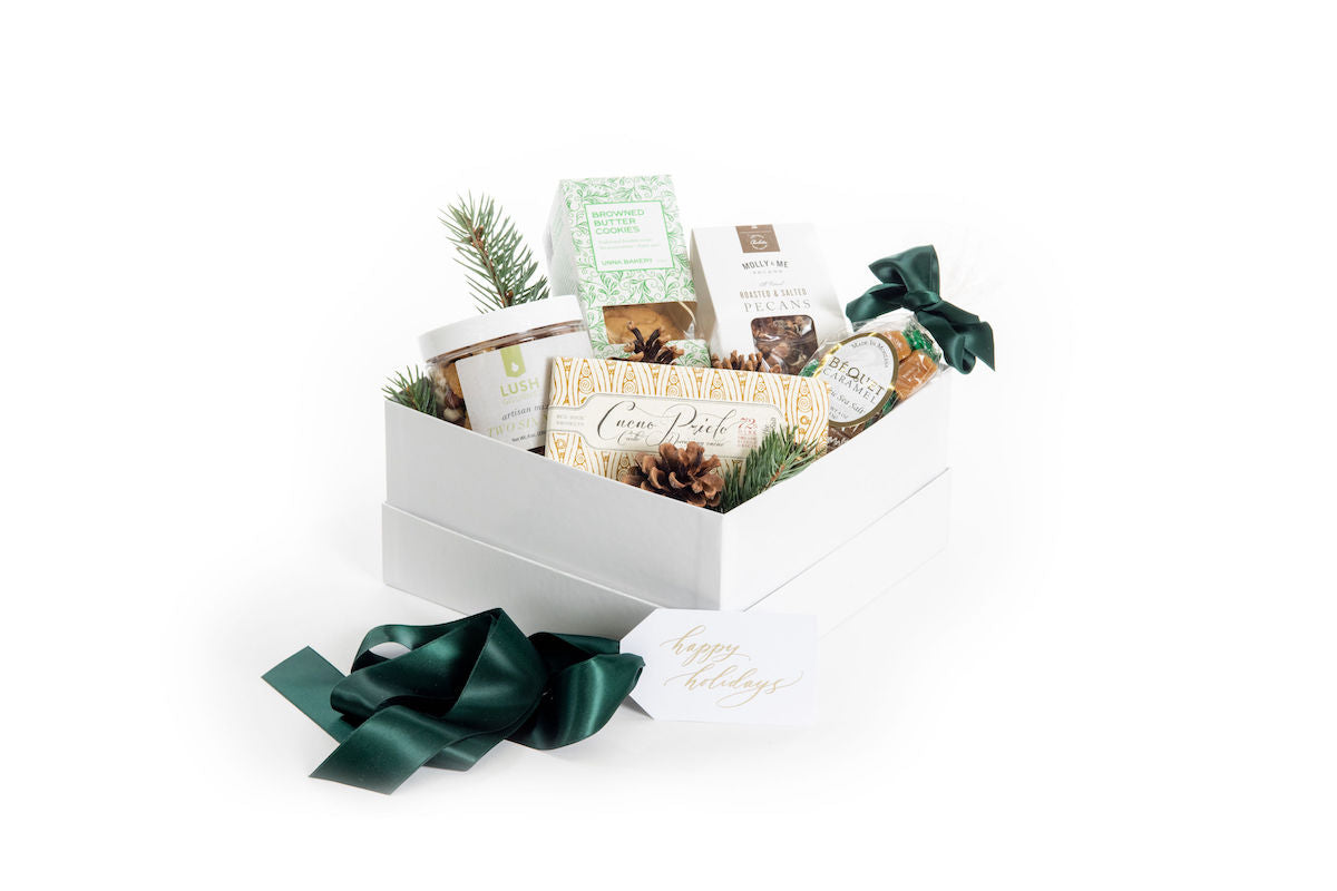 Gender neutral luxury curated gift box for the holidays by Marigold & Grey