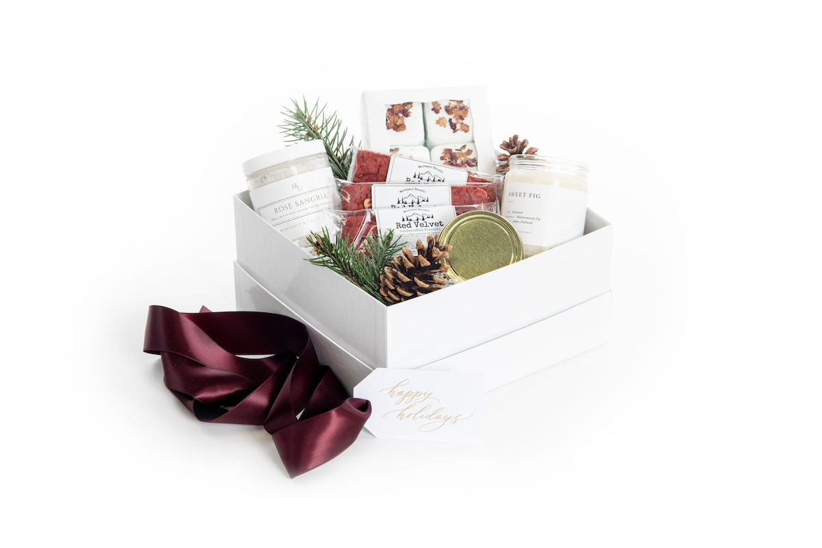 Spa themed luxury curated gift box for holiday gifting by Marigold & Grey