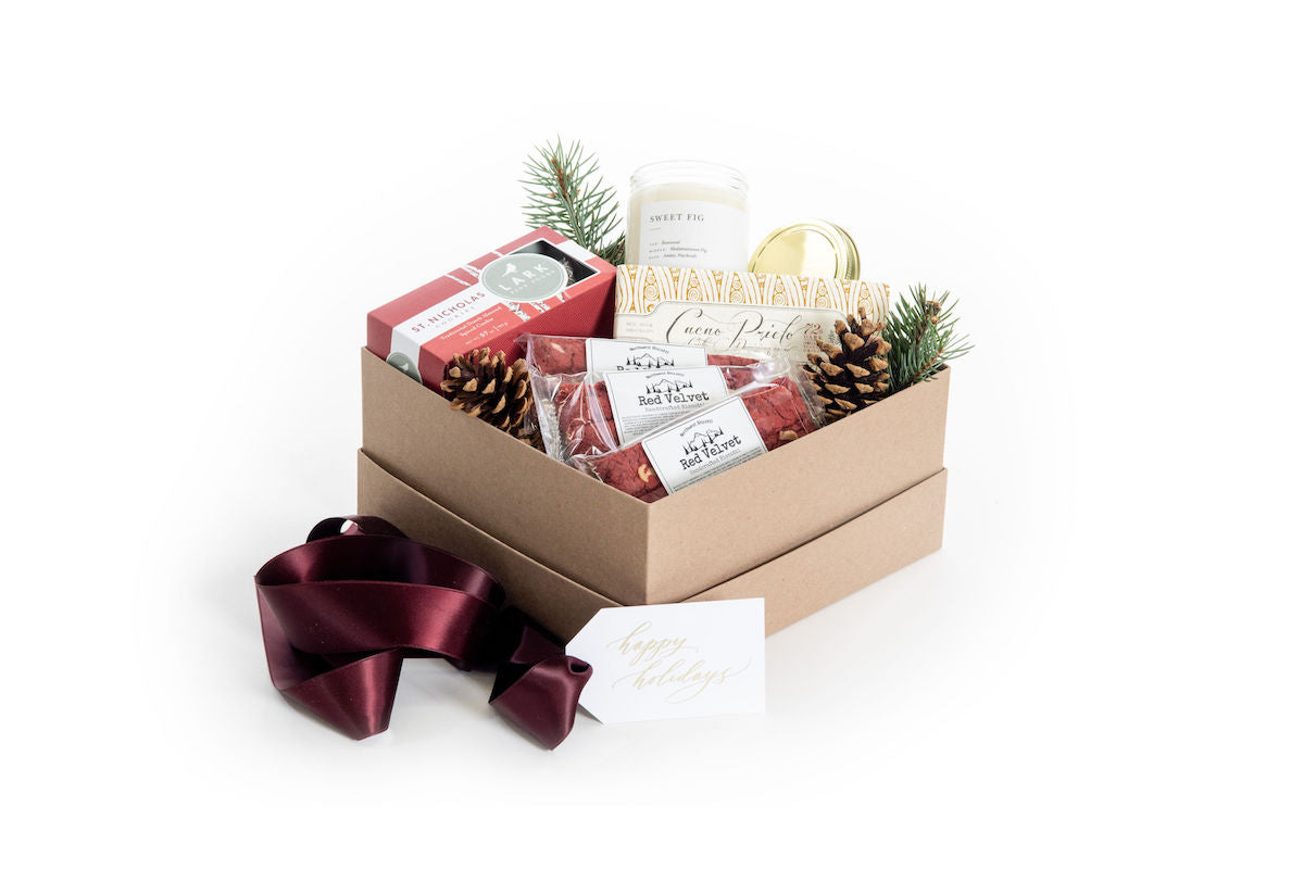 Holiday gender neutral curated gifts boxes for client and corporate gifting by Marigold & Grey