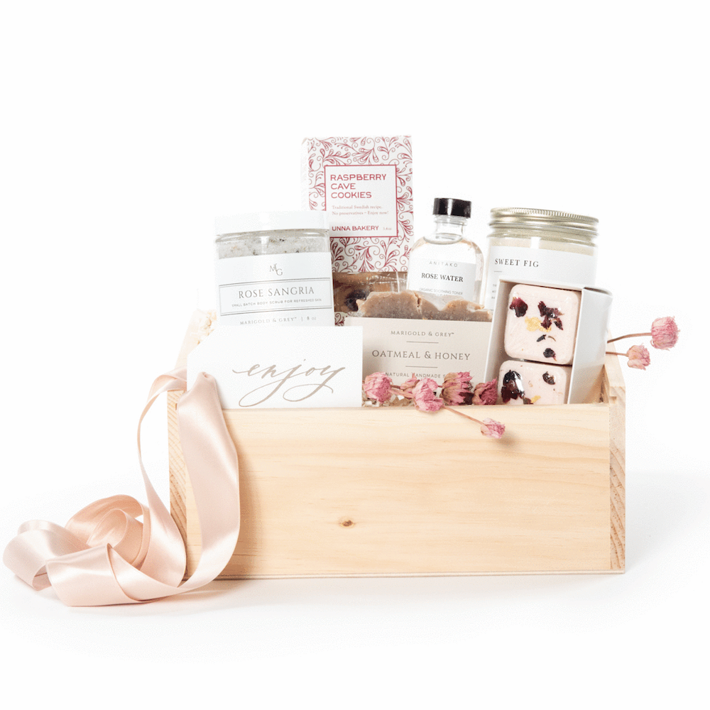 Relax & Recharge curated gift box for Mother's Day, curated gift set by artisan gifting company Marigold & Grey