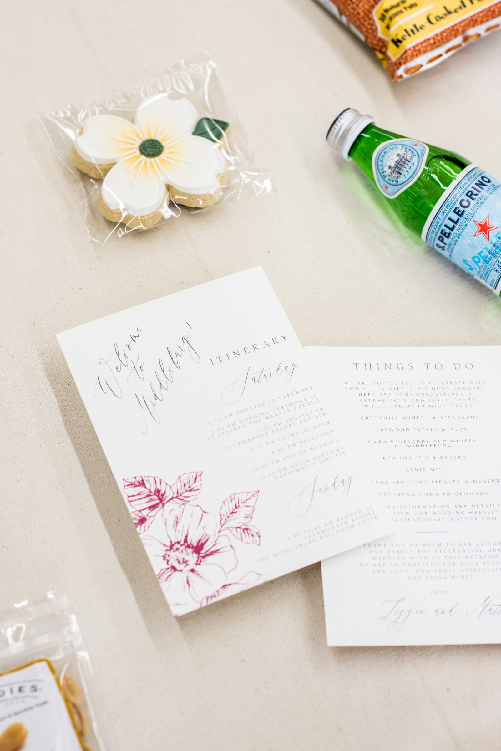 middleburg virginia wedding welcome bags