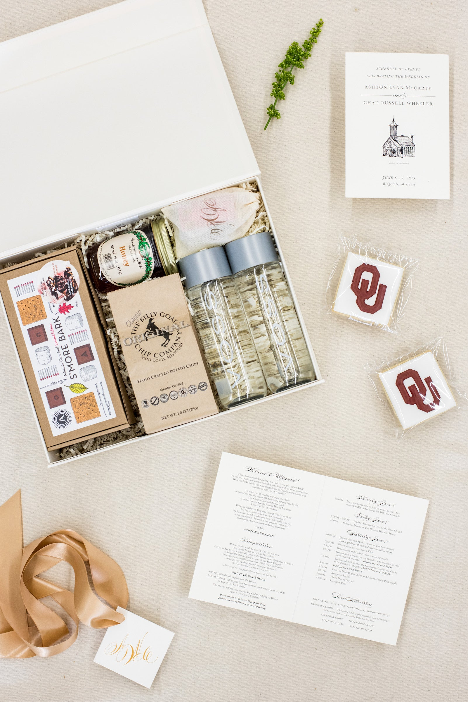 monogrammed wedding welcome boxes