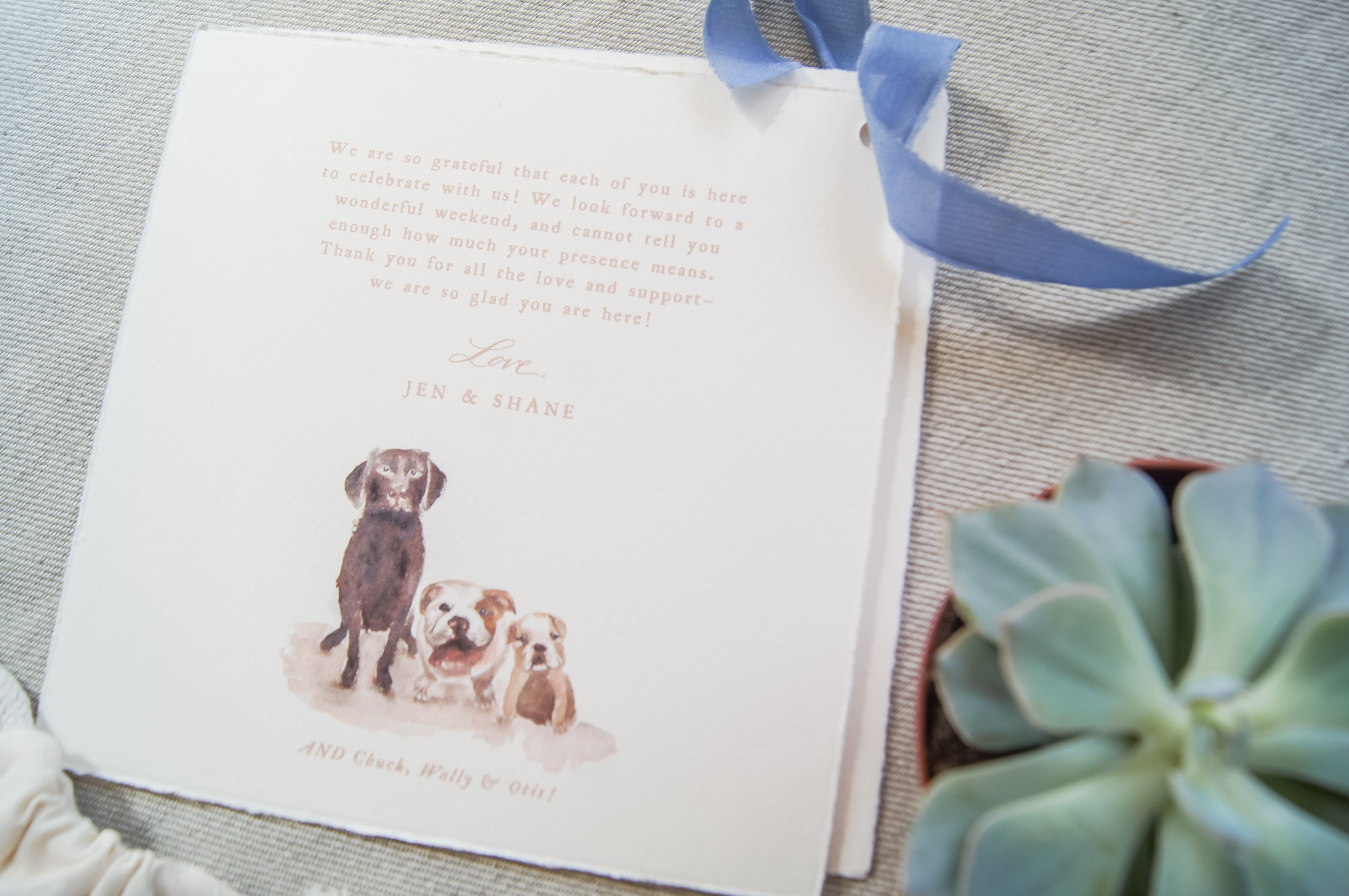 pets in wedding welcome bags