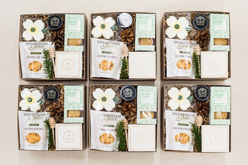 Real estate client gift boxes by Marigold & Grey
