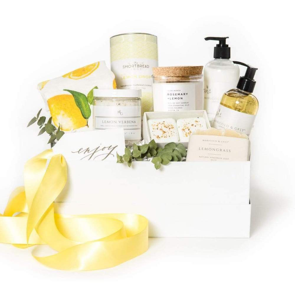 Mother's Day gift basket idea, Ultimately Lemon curated gift set for mom, by artisan gifting company Marigold & Grey