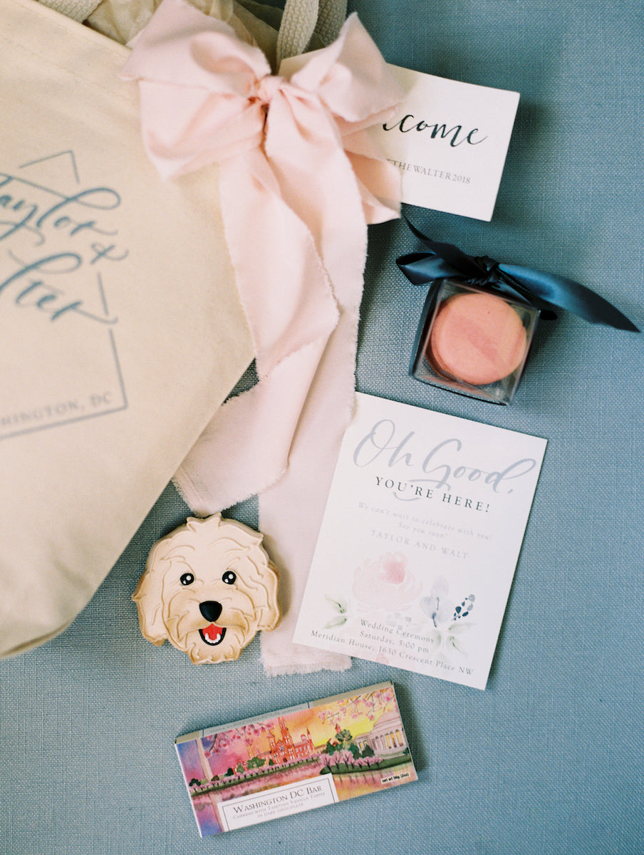 Dog cookie in wedding welcome gift bag