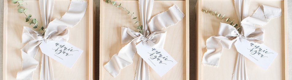 Curated gift box wedding photographer client gifting by Marigold & Grey
