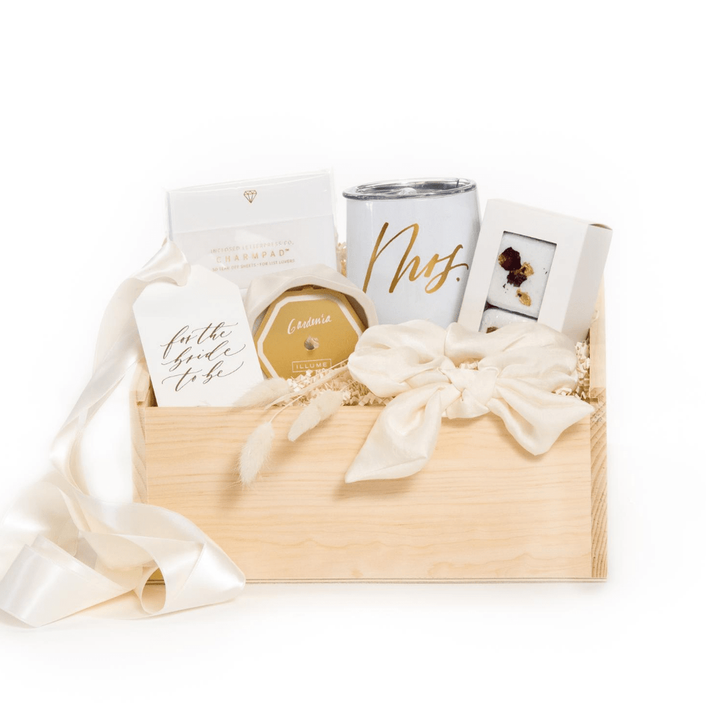Shop our signature bride to be gift box, 'Bride to Be.'