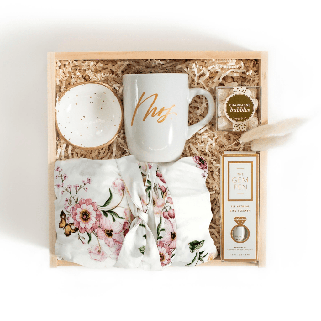 "Shop our signature gift boxes for brides, ""Future Mrs"" from Marigold & Grey."