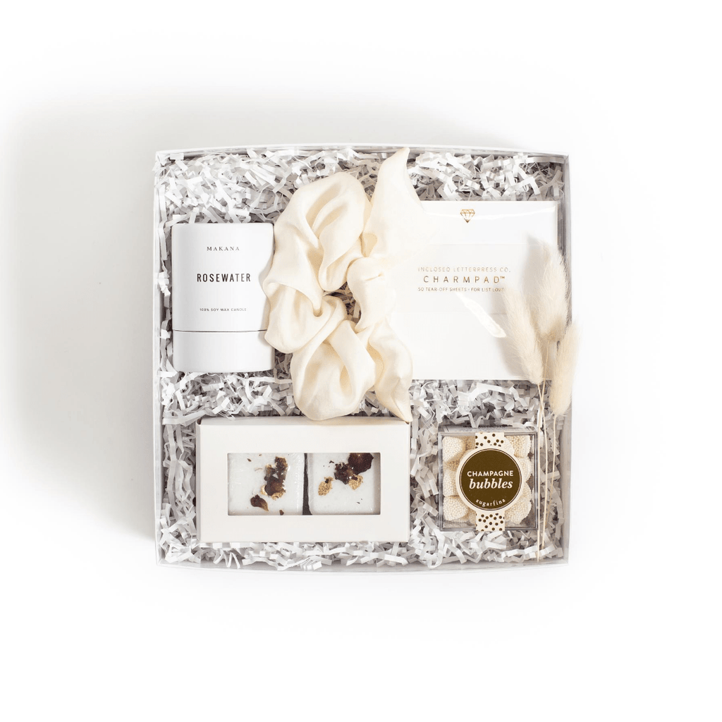 "Shop our signature engagement gift box for the bride, ""Miss to Mrs"" from Marigold & Grey."