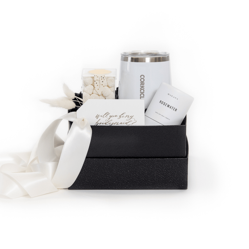 "Shop our signature bridesmaid gift sets, ""Elegant Entourage"" from Marigold & Grey."