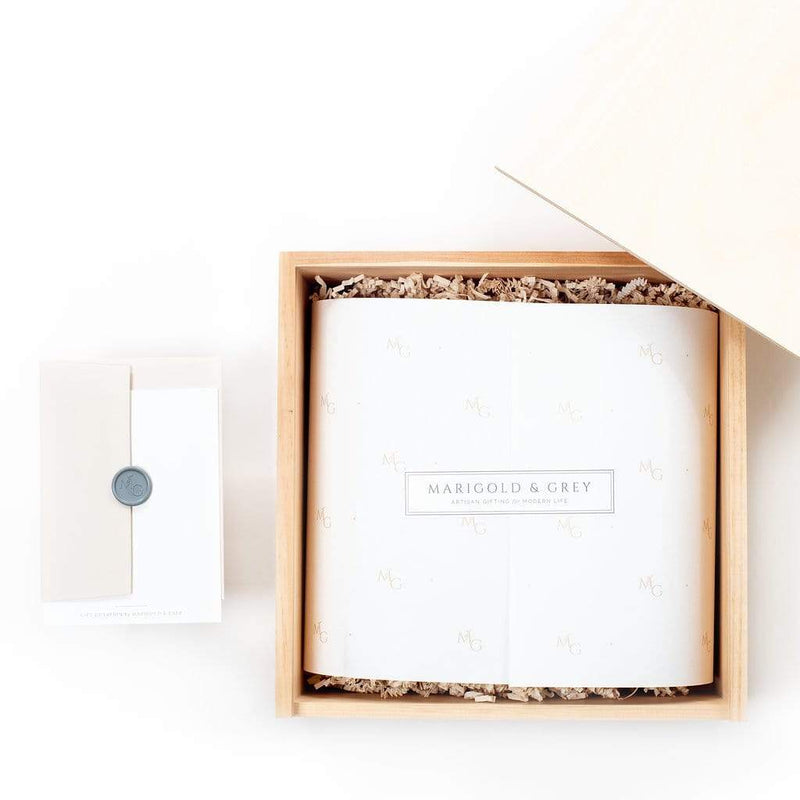 Curated gift box for wedding welcome, groomsmen gifts, client and corporate gifting by Marigold & Grey