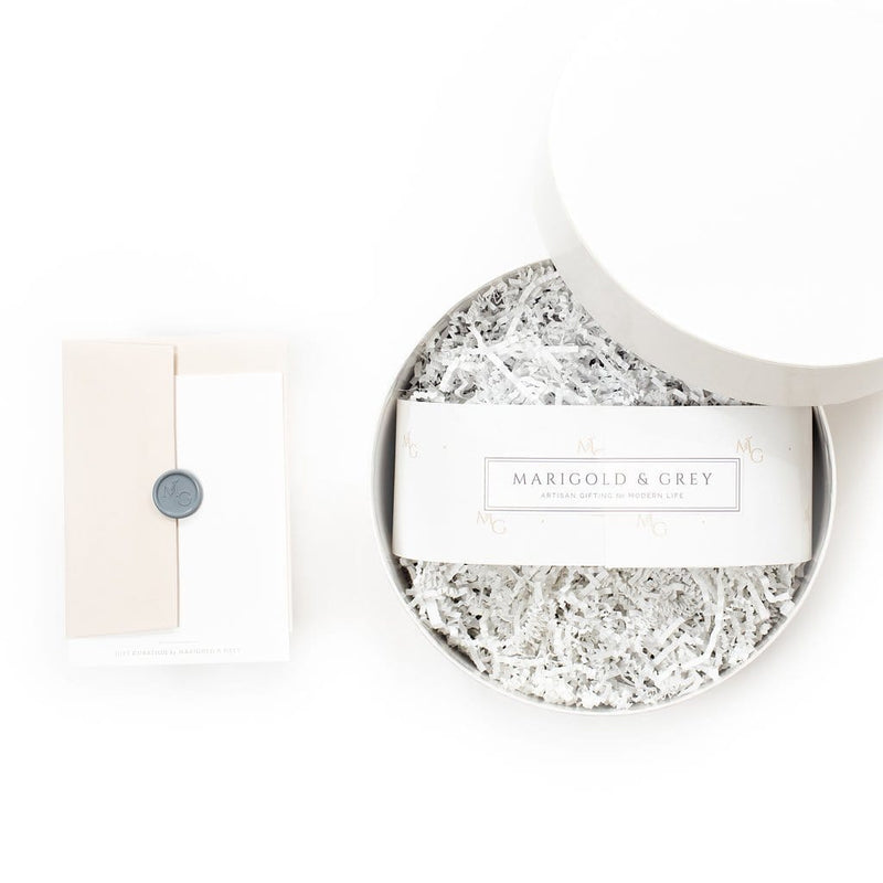 "Shop ""Mom-to-Be"", the organic pregnancy gift box by Marigold & Grey. Our pregnancy gift basket includes free U.S. Shipping."