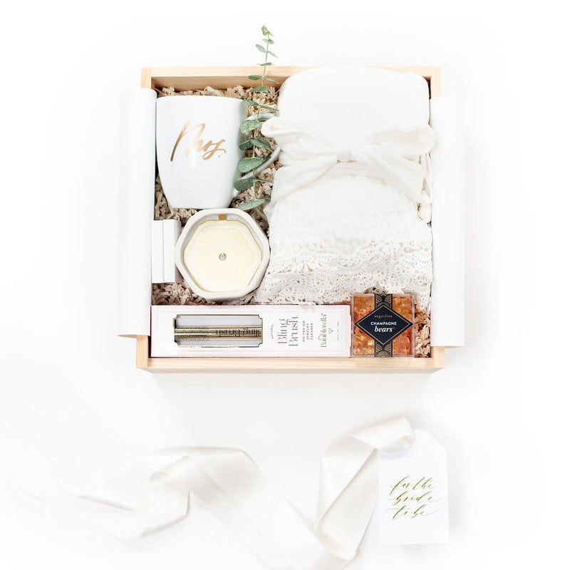 Shop the Future Mrs gift box by Marigold & Grey. Our luxury bridal shower gifts include free U.S. Shipping and complimentary custom handwritten notecard!