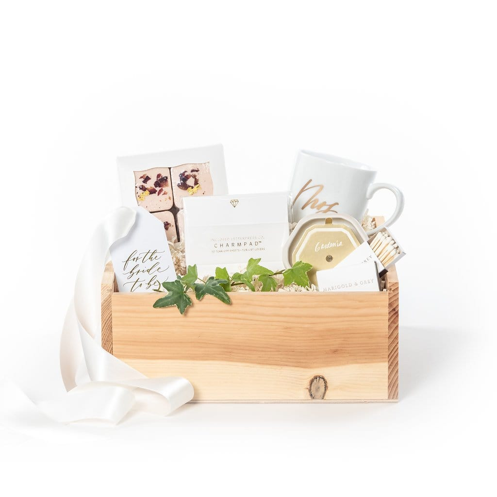 Curated gift box for engaged bride-to-be by gifting business Marigold & Grey