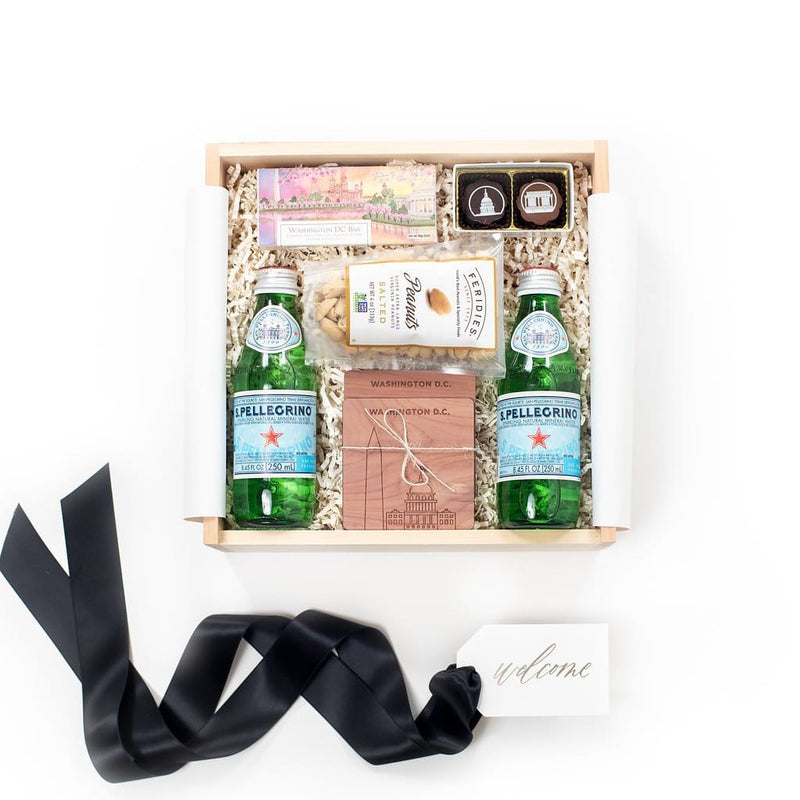 "Shop ""A District Welcome"", the signature taste pf DC gift box by Marigold & Grey. Our Washingtom DC gift baskets include free U.S. Shipping and complimentary custom handwritten notecard!"