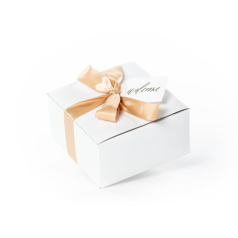 Unique wedding welcome gift boxes bags and baskets by Marigold & Grey
