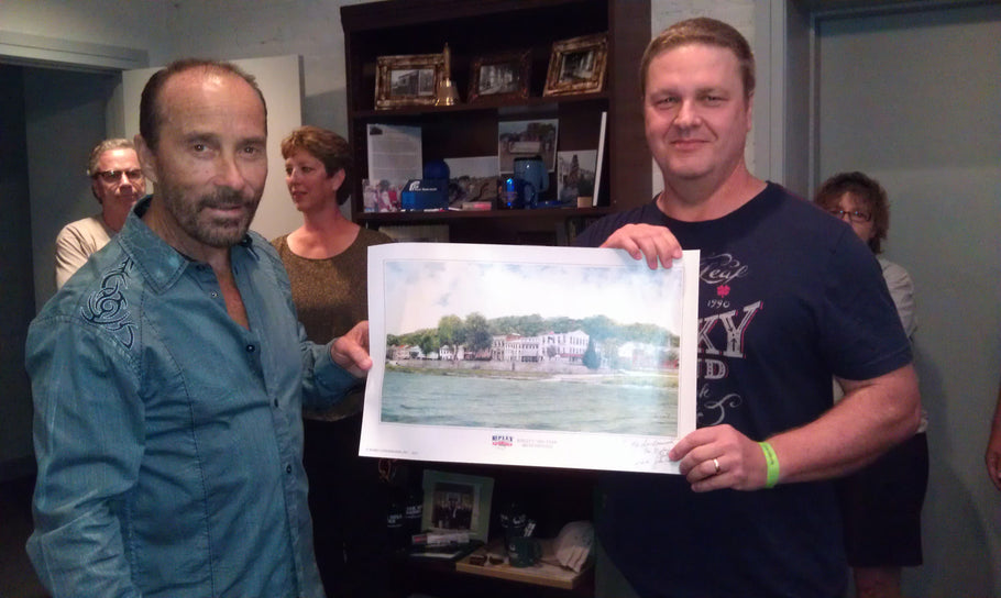 John Ward Presents American County Artist, Lee Greenwood, with Ripley, Ohio Bicentennial Print